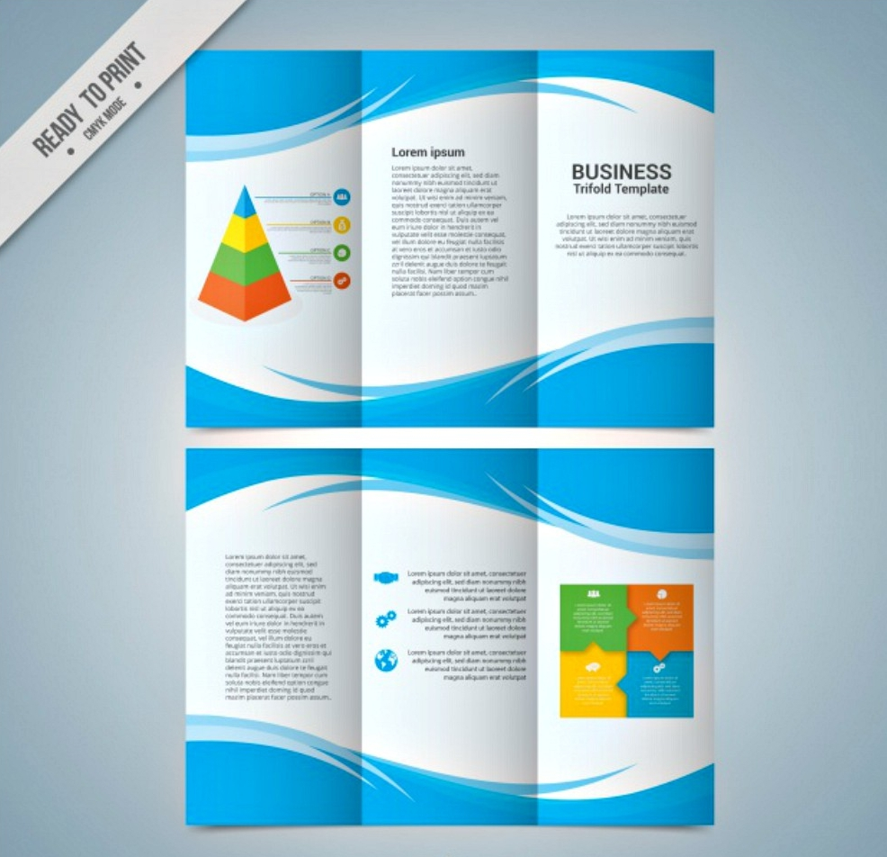 business tri fold template with abstract blue shapes