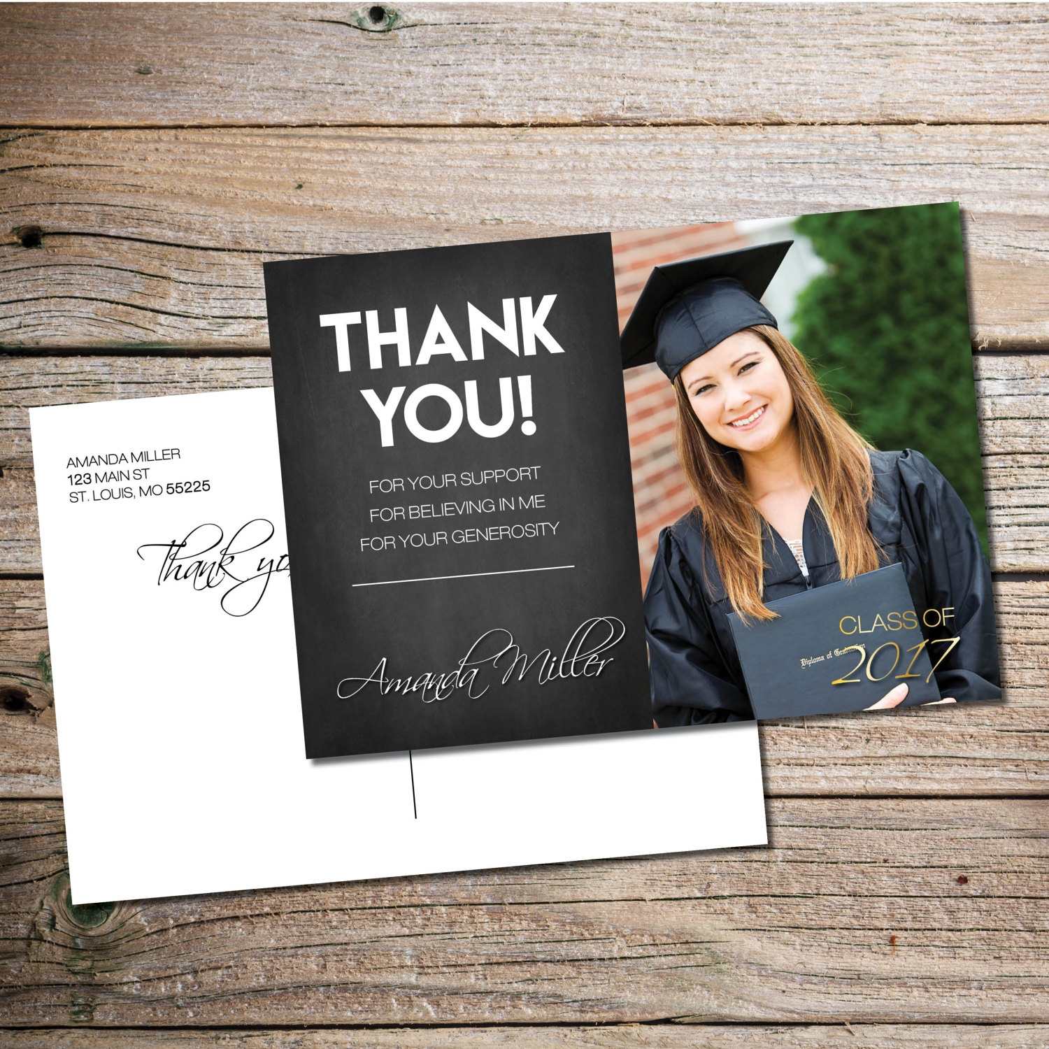chalkboard graduation thank you card