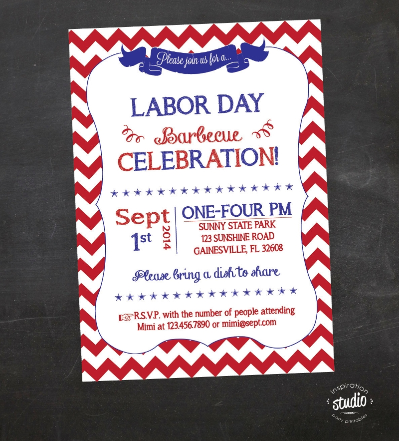 chevron labor day invitation