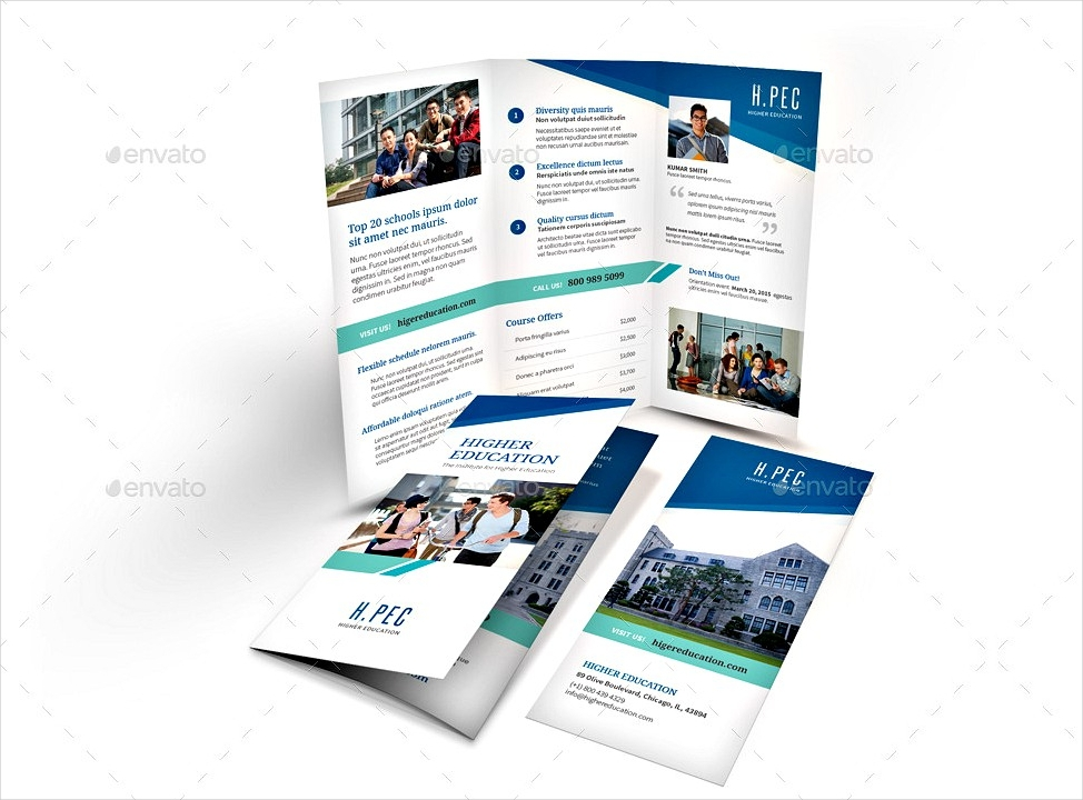 college tri fold education brochure