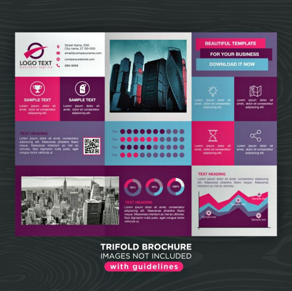 colorful design tri fold brochure layout