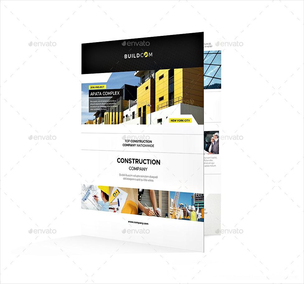 construction company bi fold half fold brochure