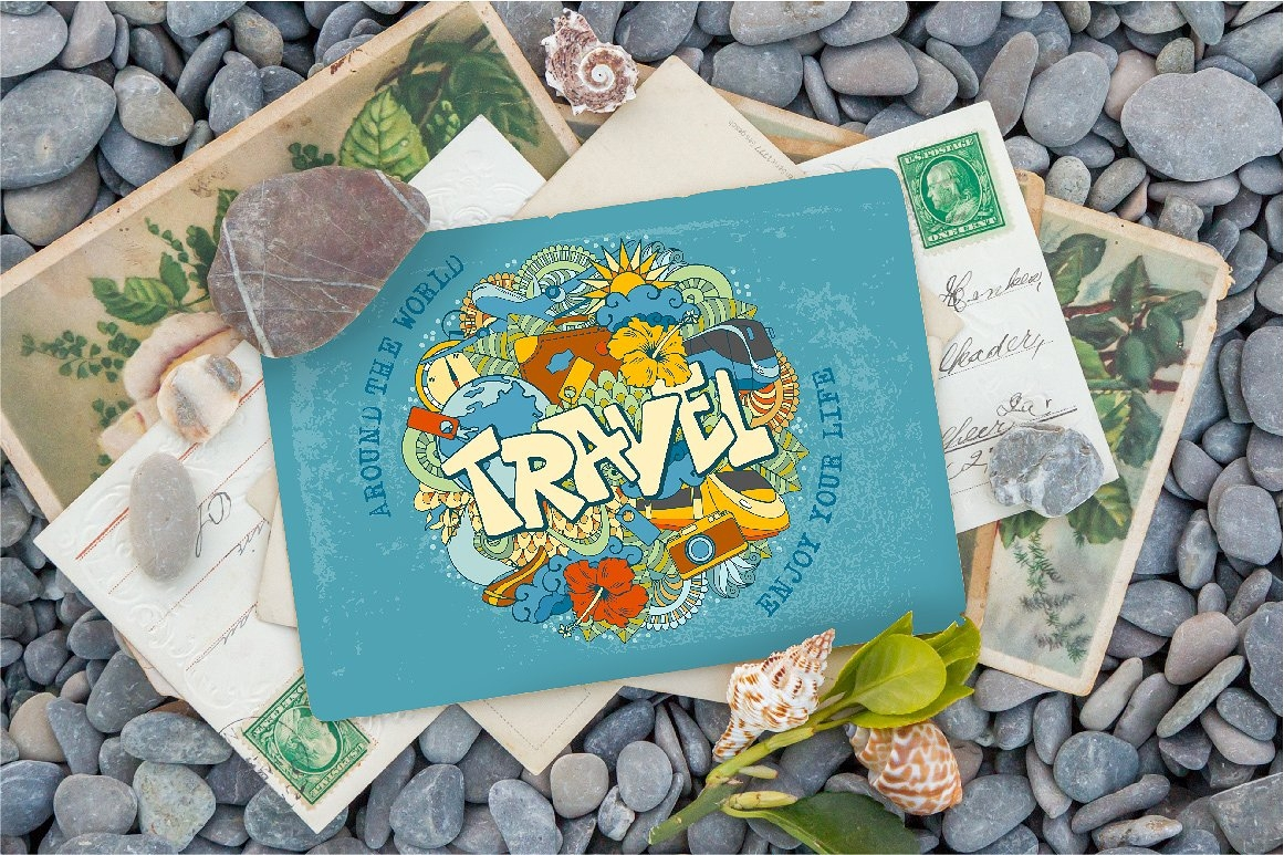 doodle themed travel postcard