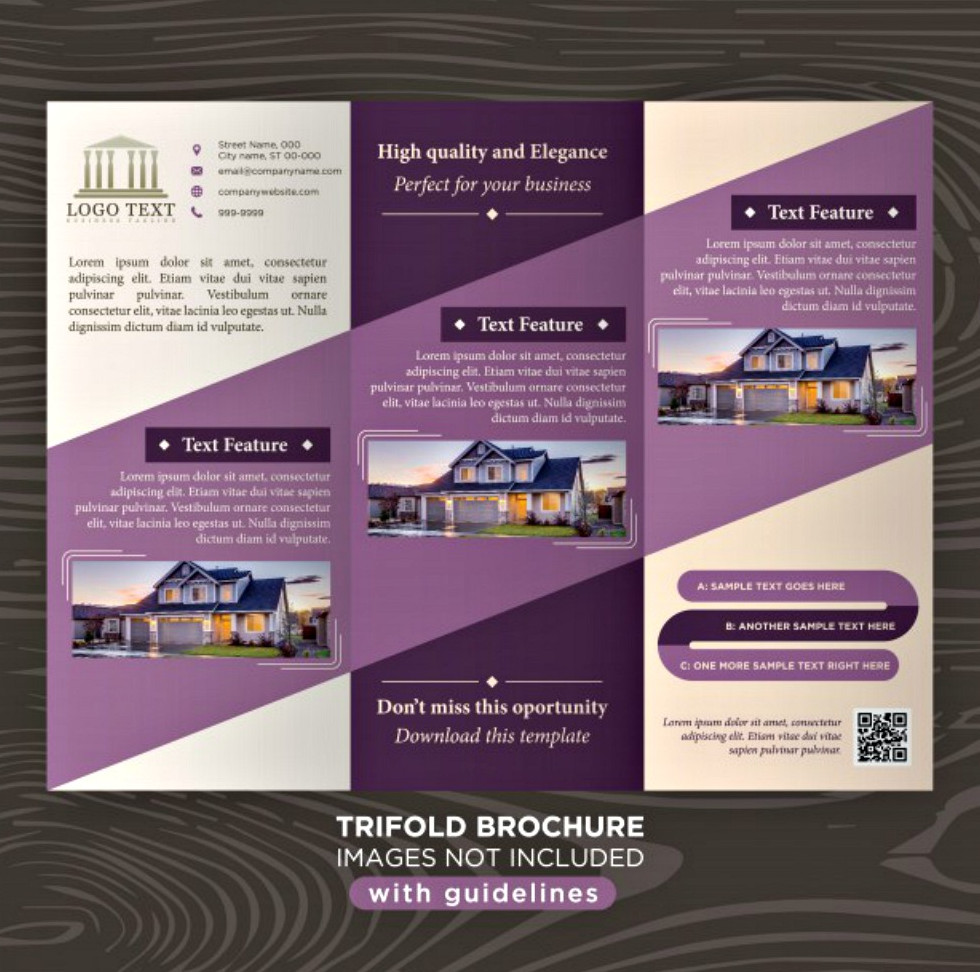 Elegant Purple Business Design Tri-fold Brochure Template