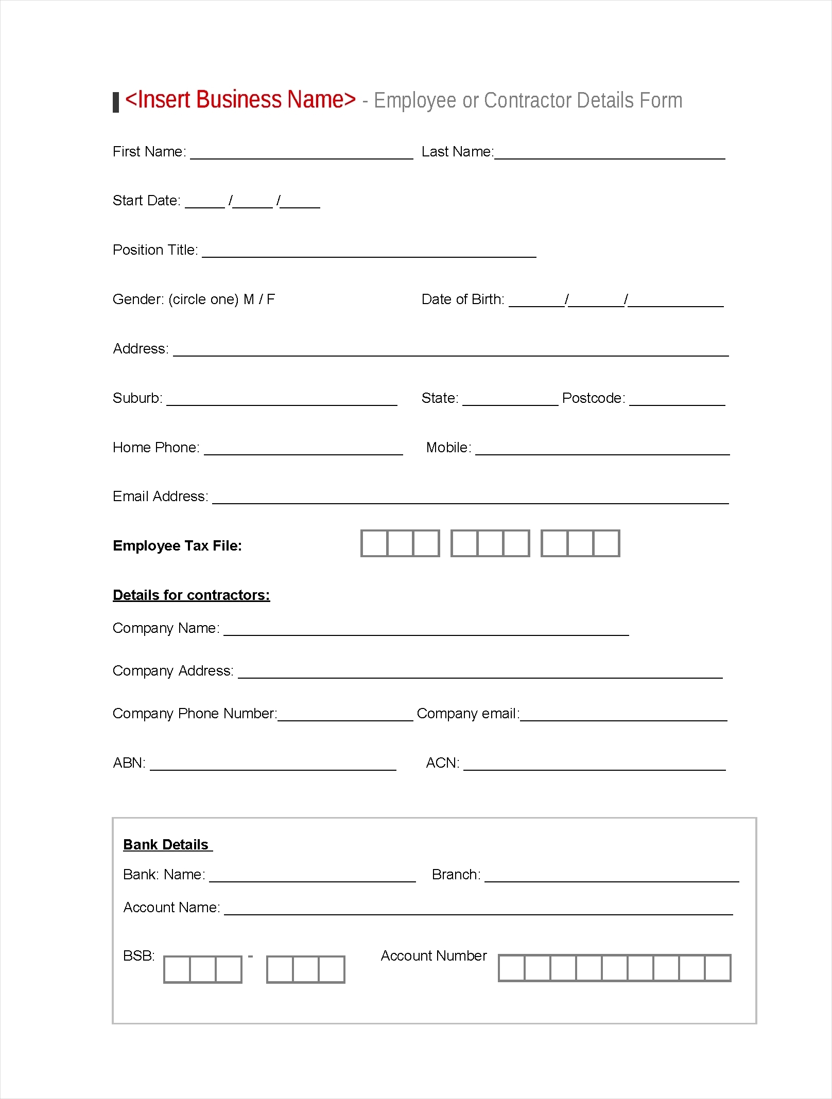 employee details form template