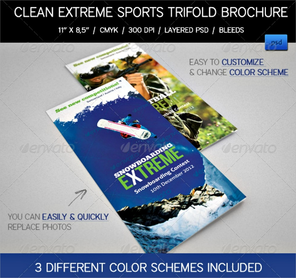 extreme sports event tri fold brochures