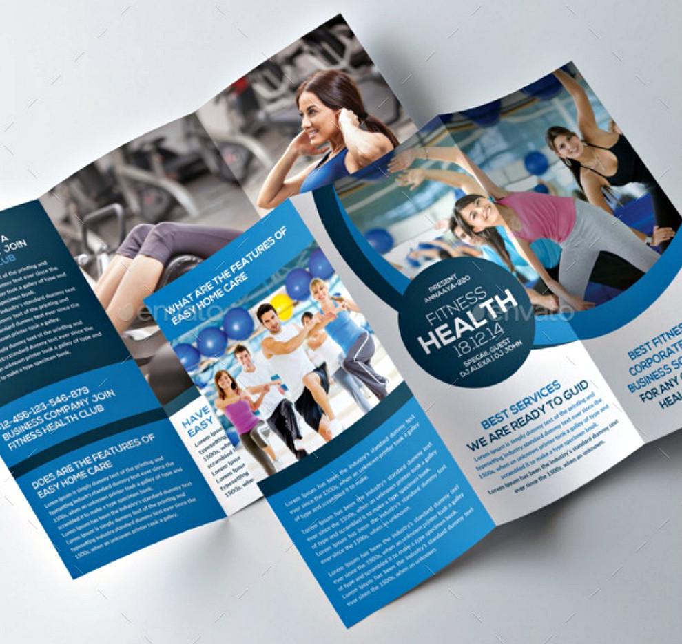 fitness health tri fold brochures psd