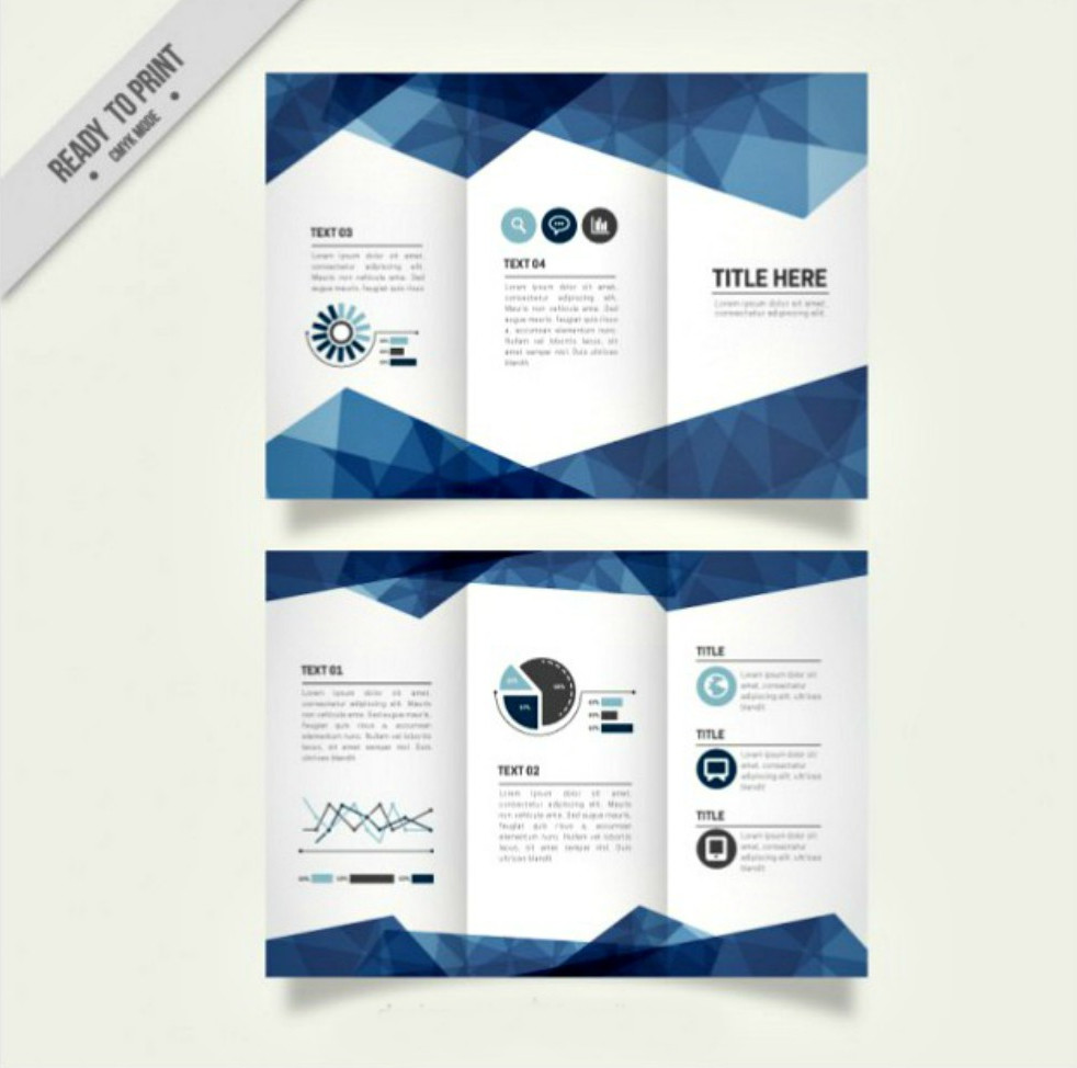 Geometric Blue Business Tri-fold