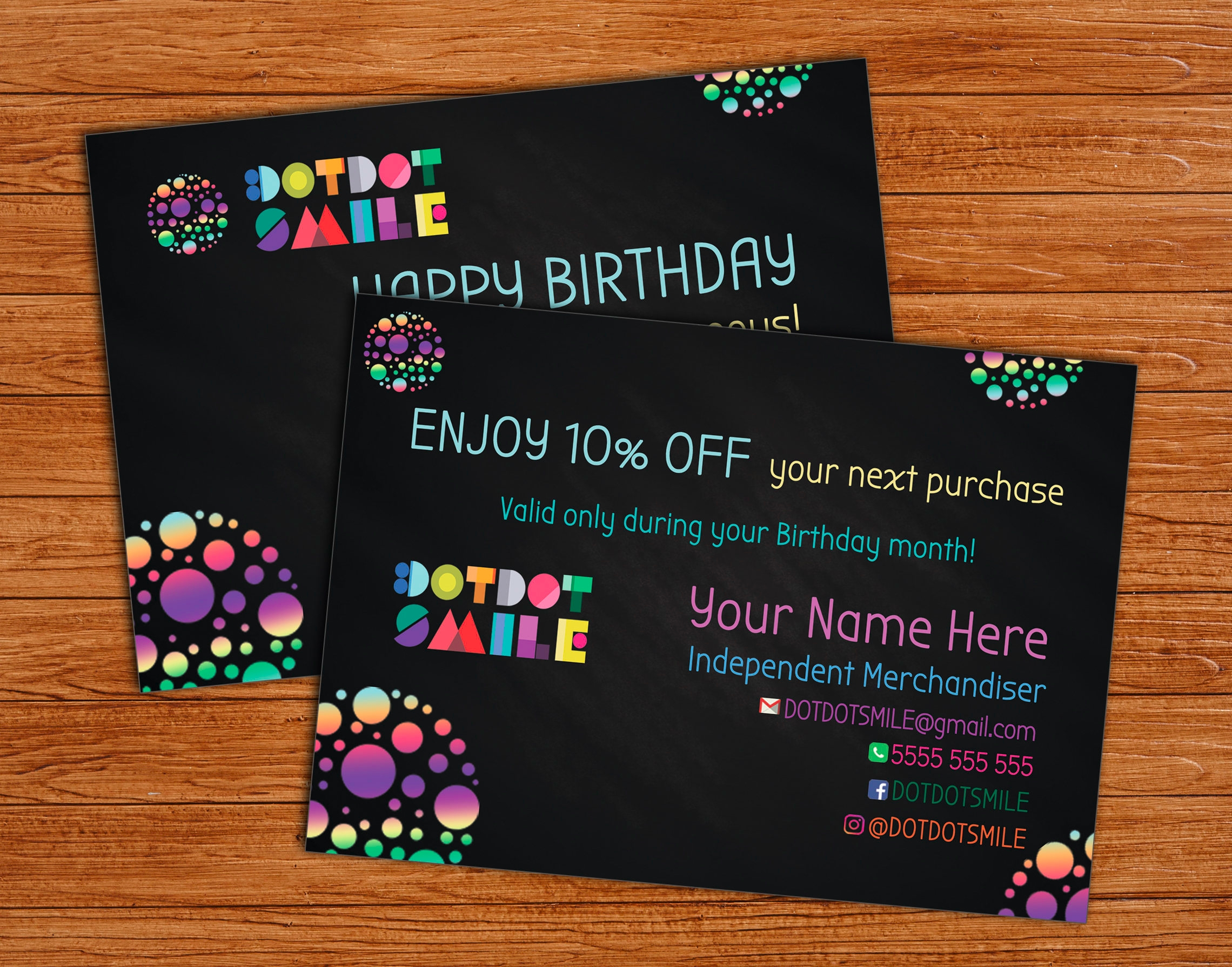 Happy Birthday Greeting Cards with Dots