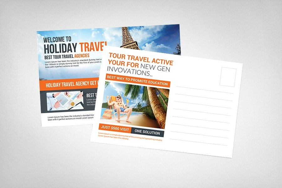 holiday travel postcard design