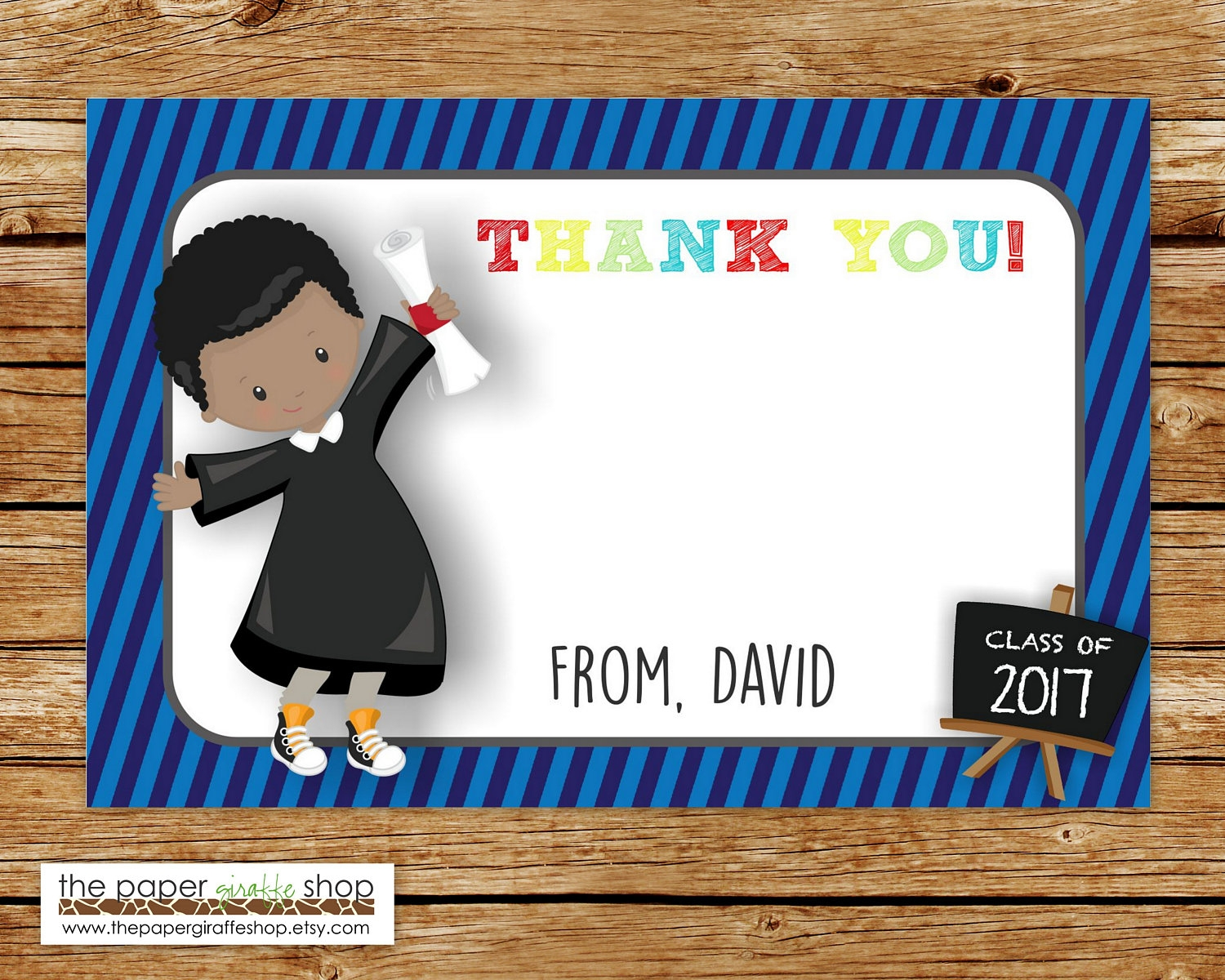 kindergarten graduation thank you card