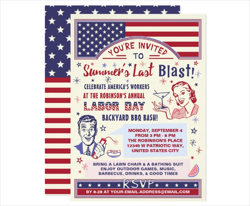 7  labor day invitations