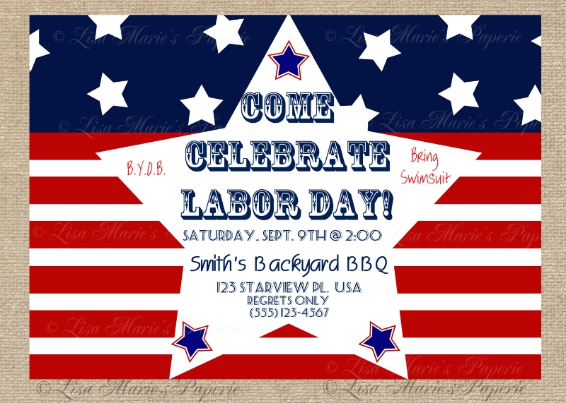 patriotic labor day invitation