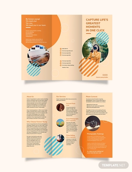 photography studio tri fold brochure template