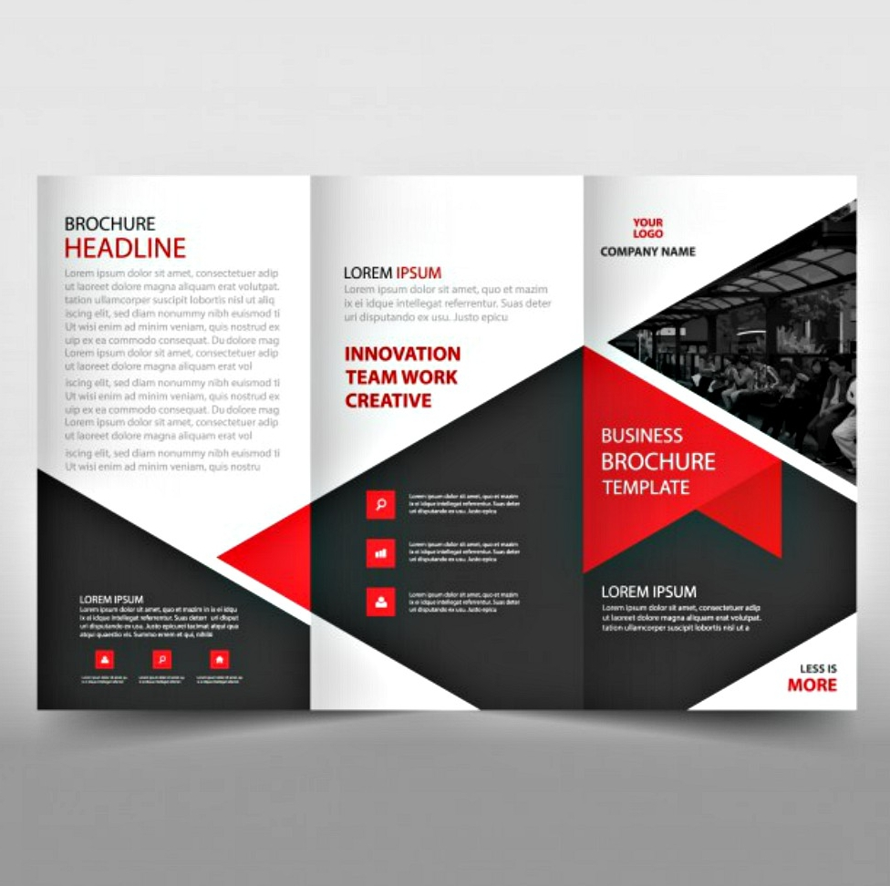 red tri fold leaflet brochure template
