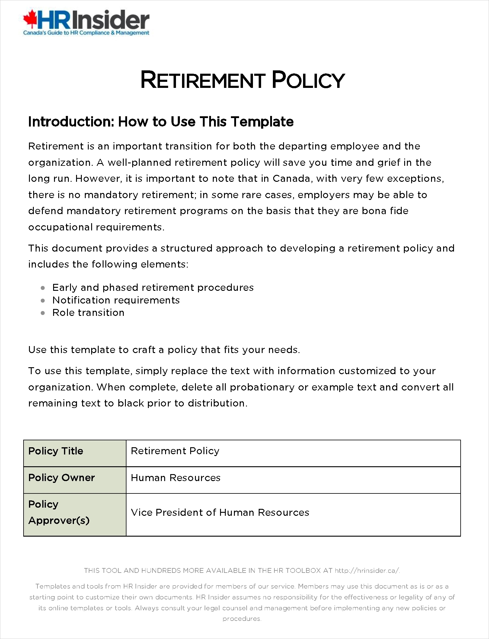 retirement policy template1