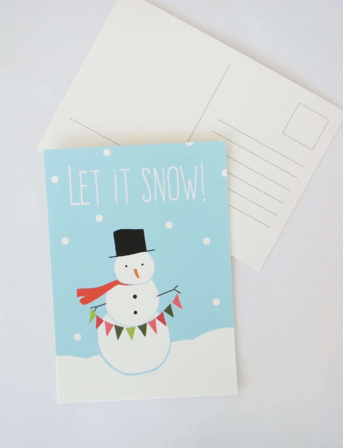 snow holiday postcard