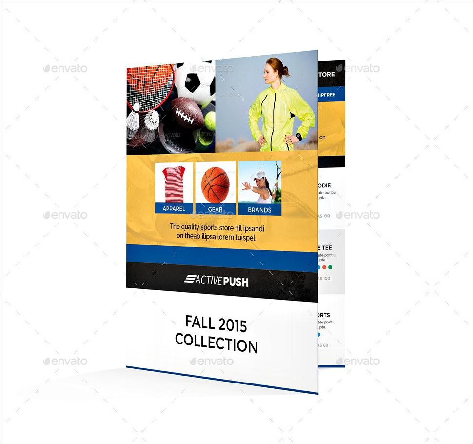 sport store half fold brochure