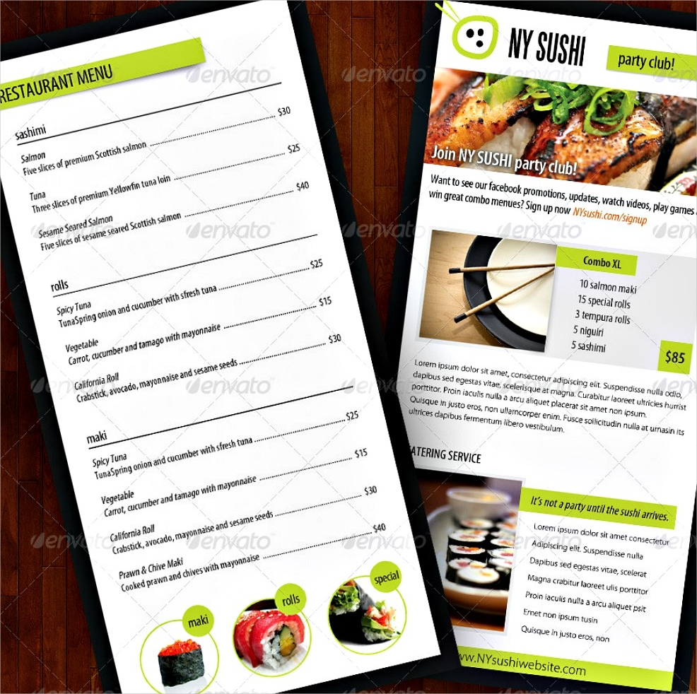 sushi menu catering food brochure