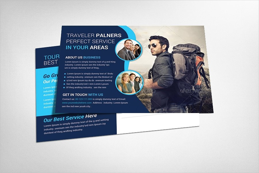 tour traveler postcard design