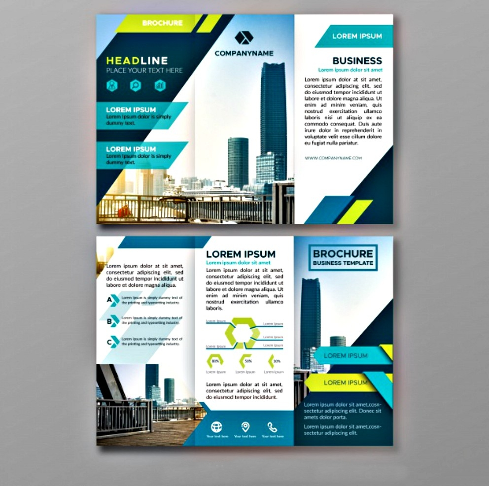 triptych of abstract business brochure