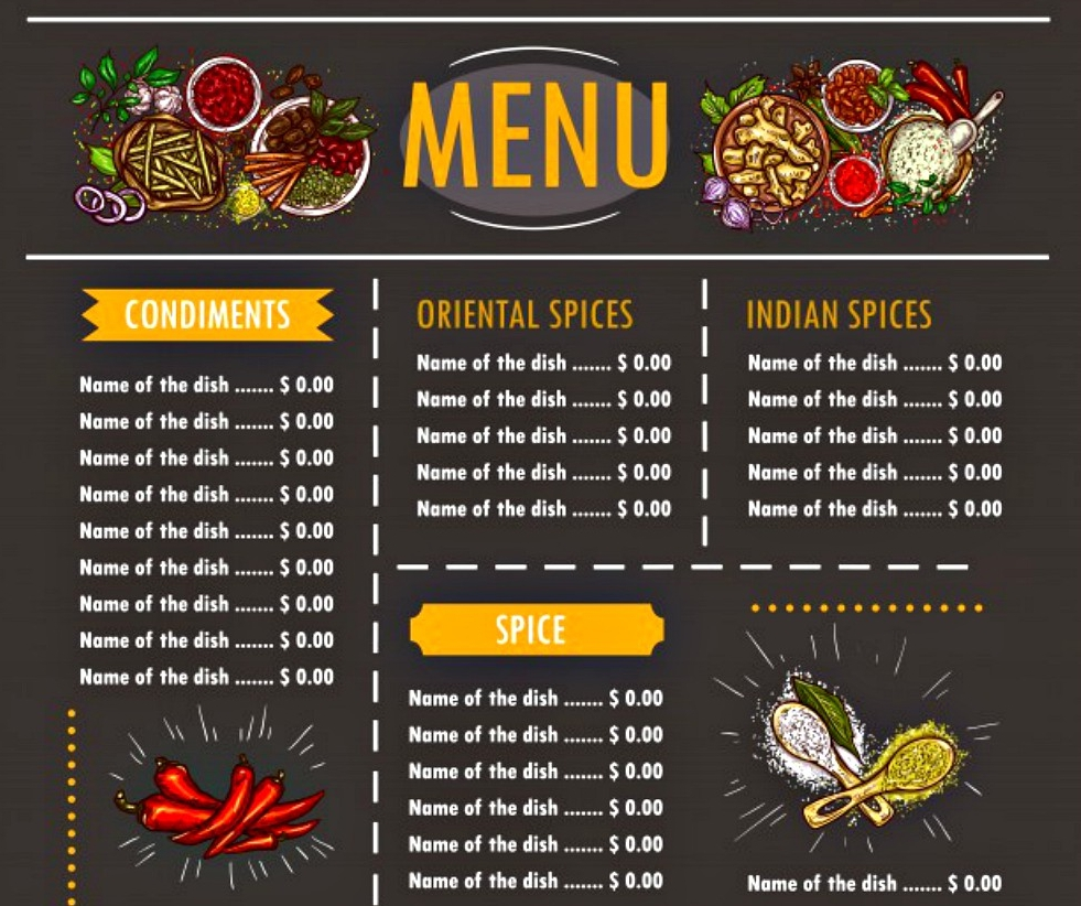vector food menu with special offers