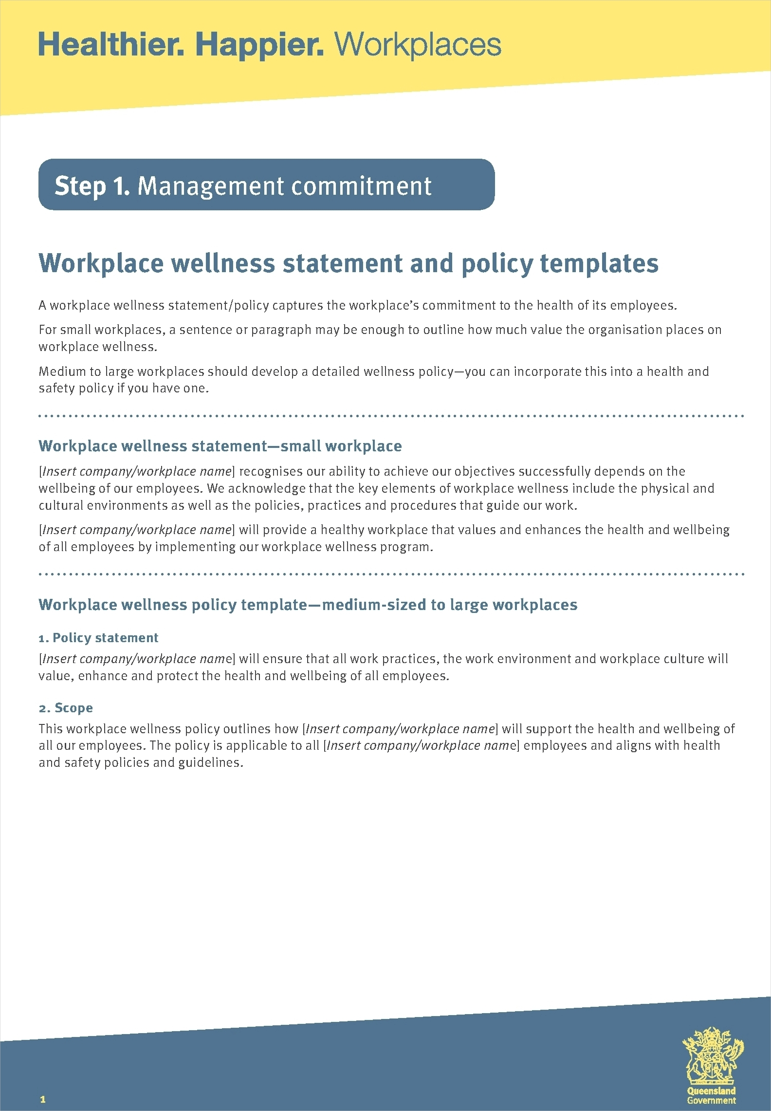 workplace wellness statement and policy template