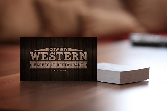 bbq restaurant wood business card