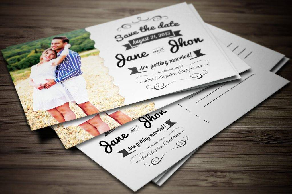 elegant wedding invitation postcard 1024x681