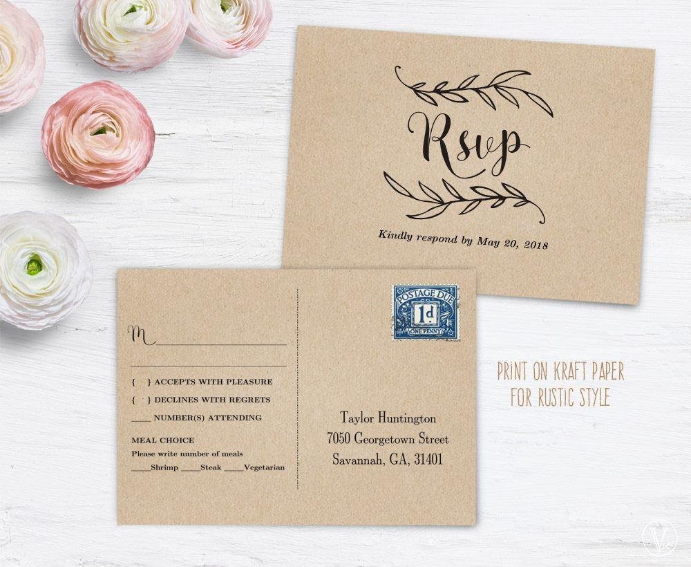 craft wedding postcard