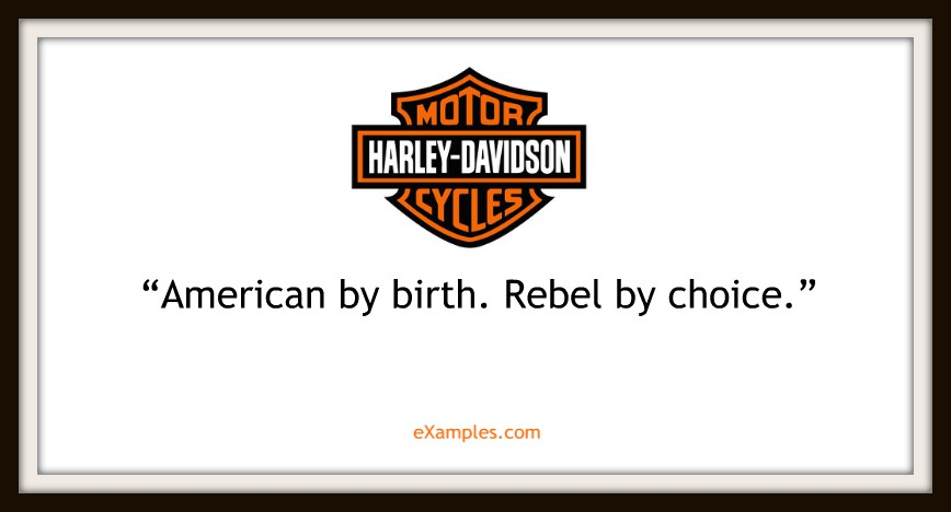 "Harley Davidson: ""American by birth. Rebel by Choice."""
