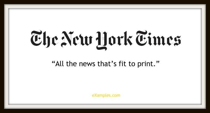 "New York Times: ""All the news that's fit to print."""