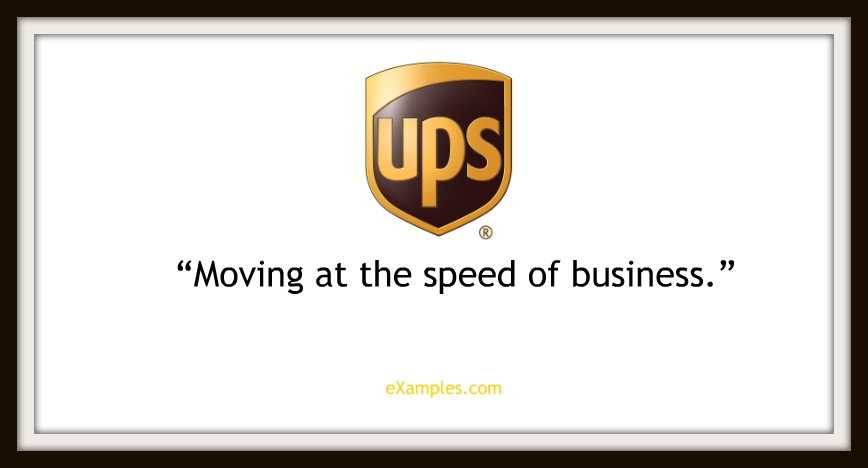 "UPS: ""Moving at the speed of business."""