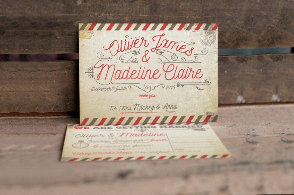 vintage airmail wedding invitation 1024x681