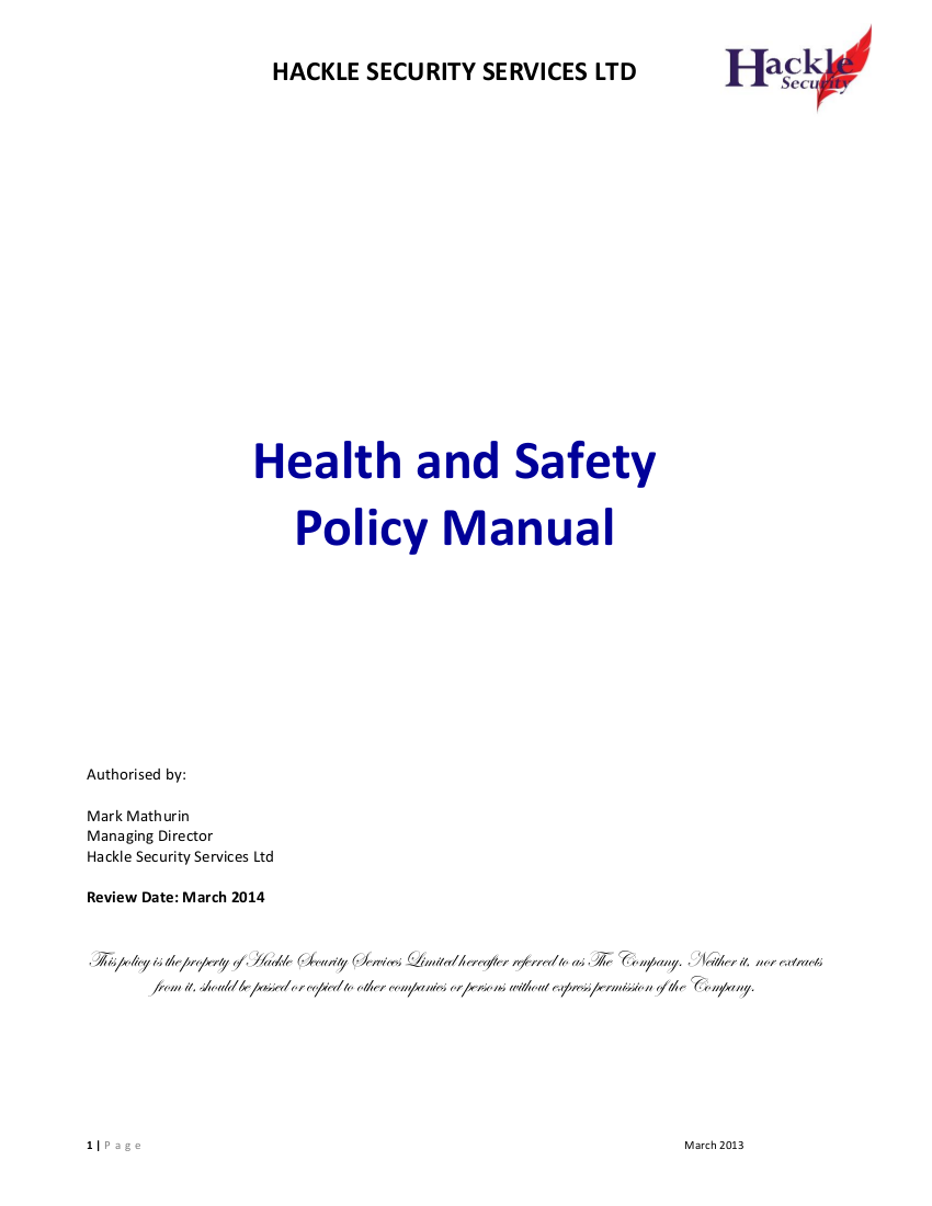 1 health and safety policy