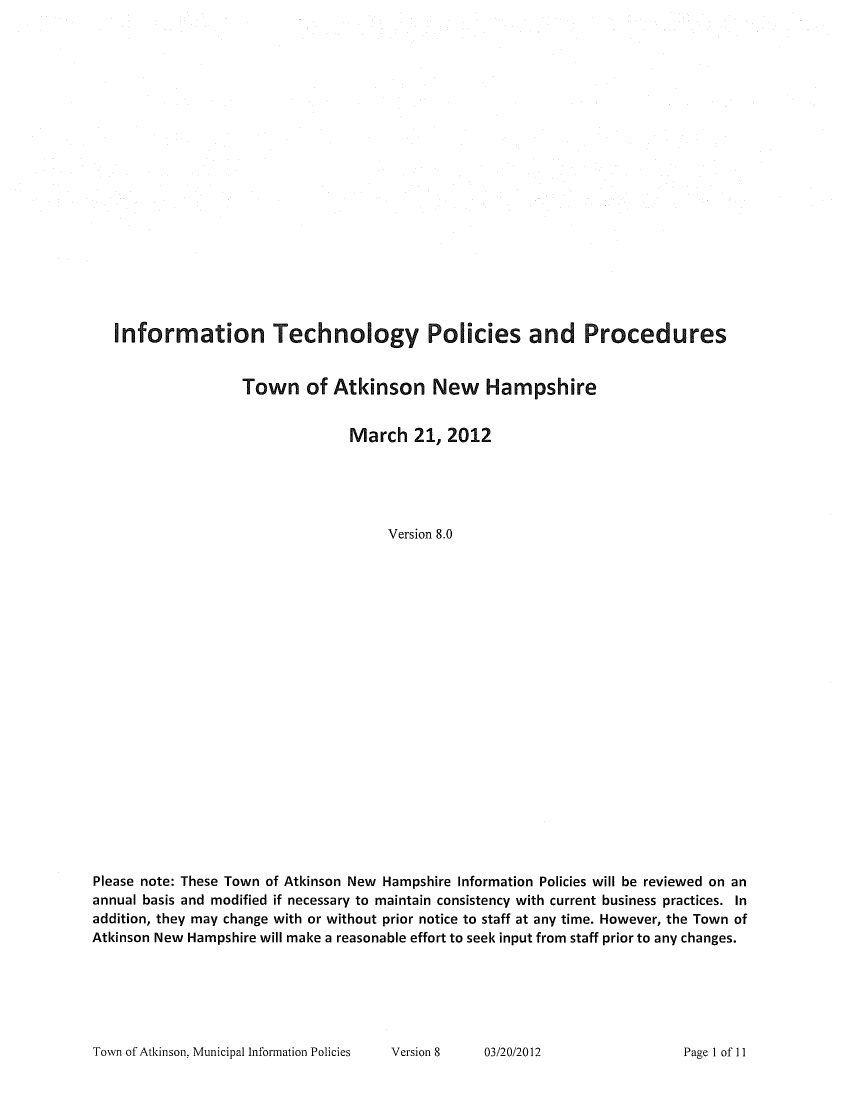 10 information technology policy