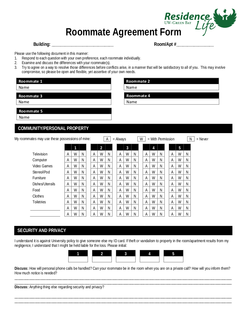 10 roommate agreement form