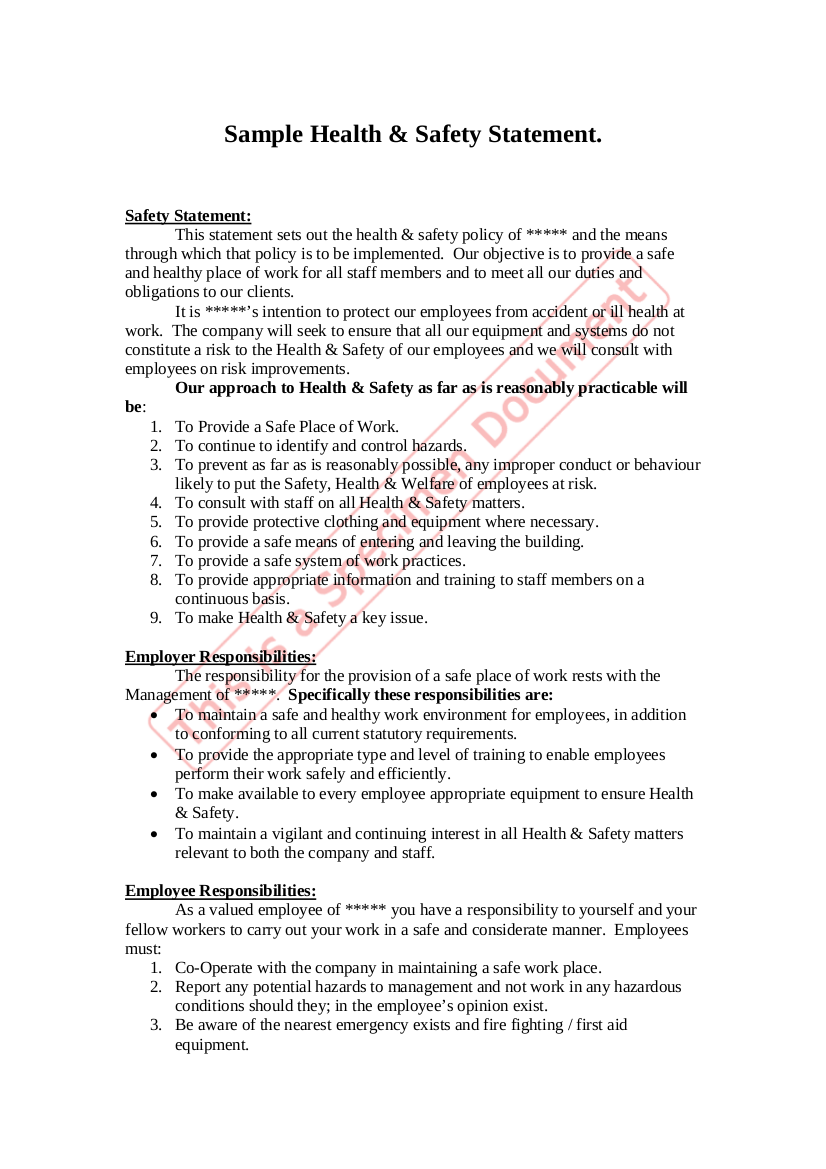 health and safety statement of intent template 19 health and safety policy examples samples
