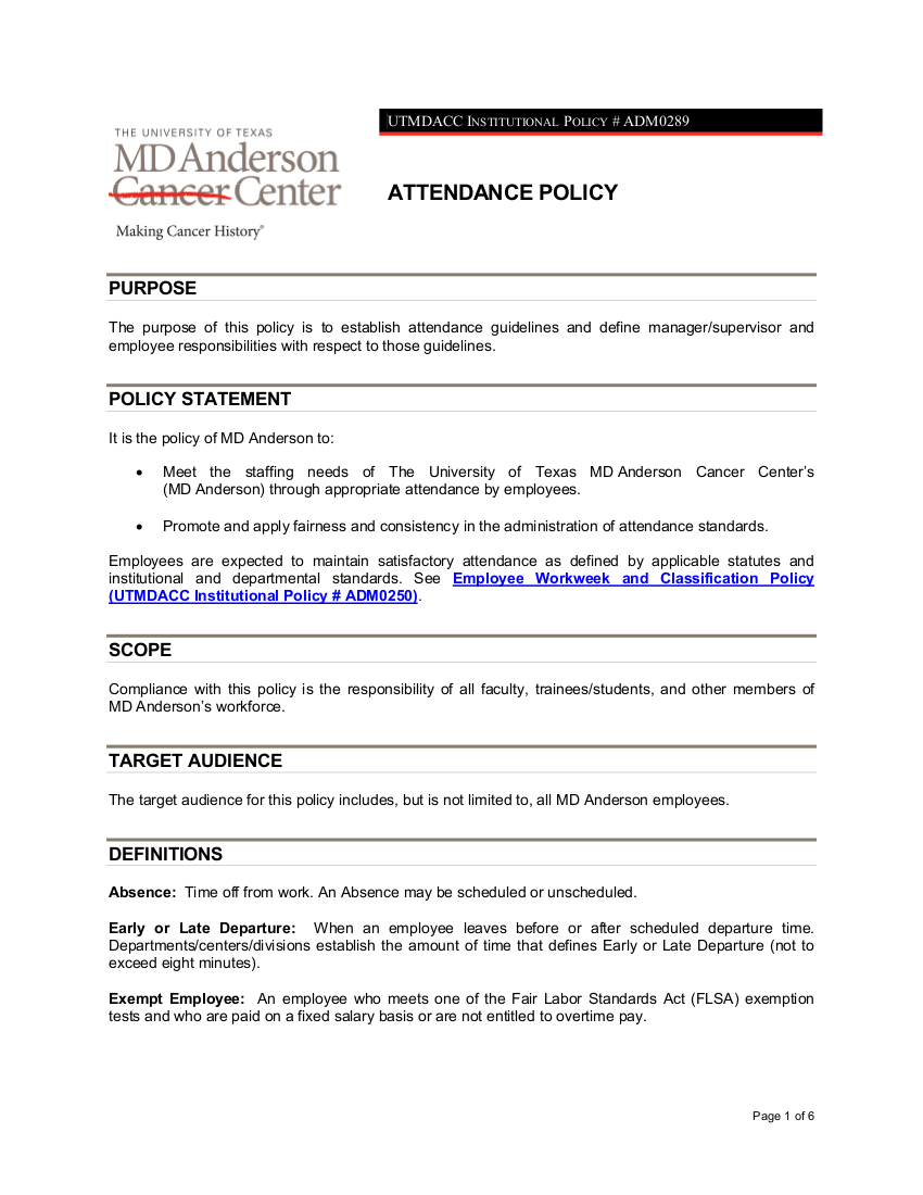 institutional attendance policy 12 adm0289 mdandersonorg details file format