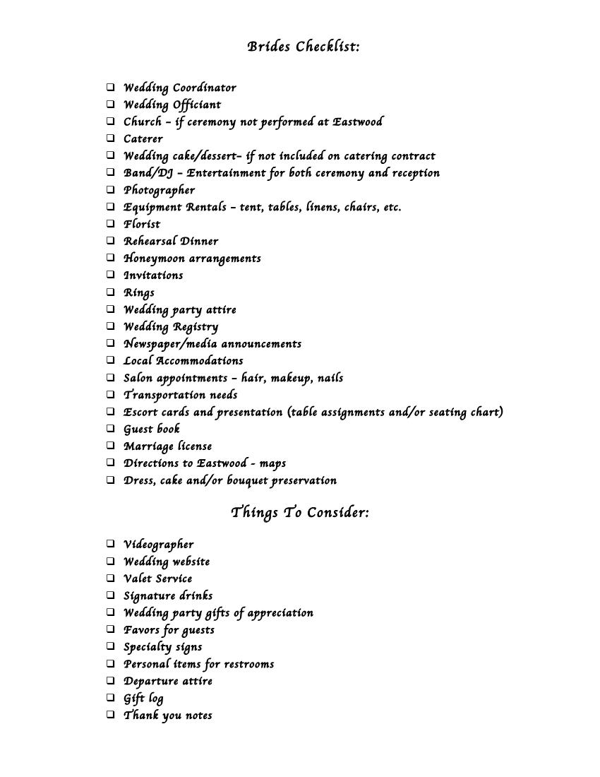 12 brides checklist