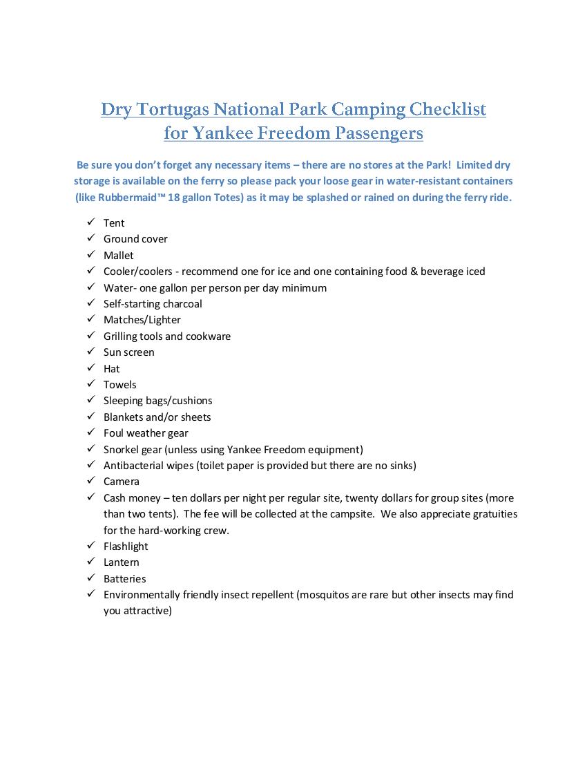 12 camp checklist