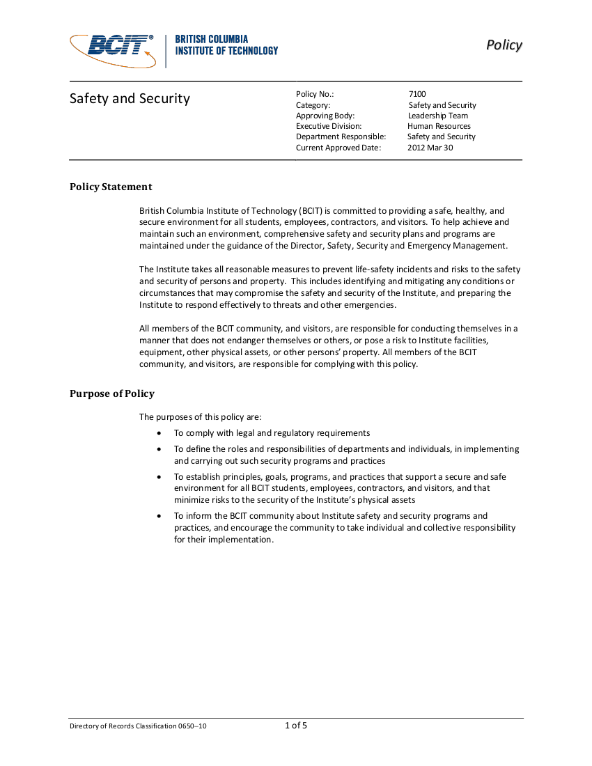 safety and security policy