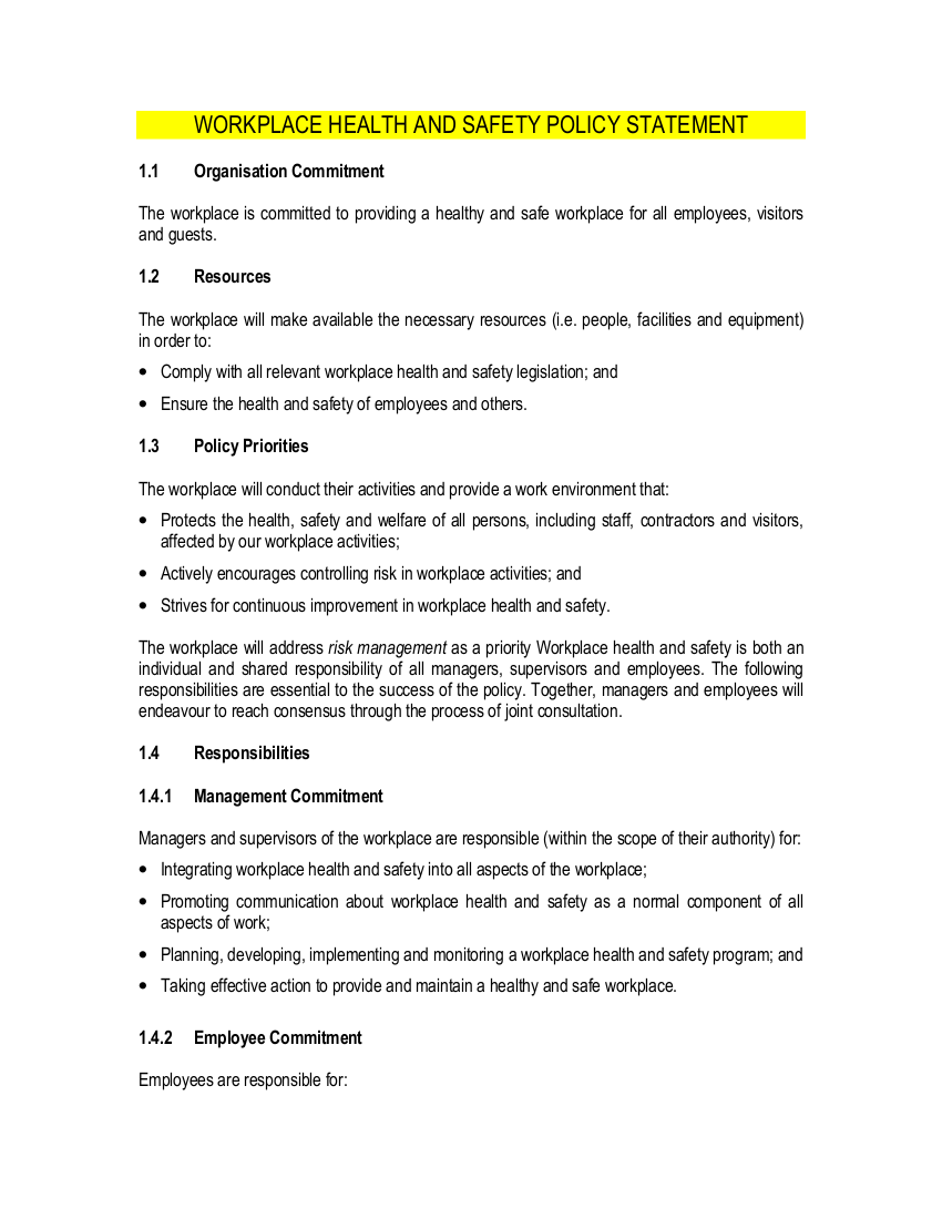 8 free workplace safety policy templates pdf free for Health and safety statement of intent template