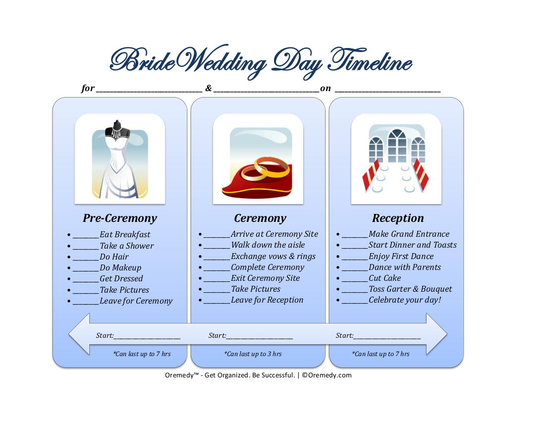 13 bride wedding day timeline