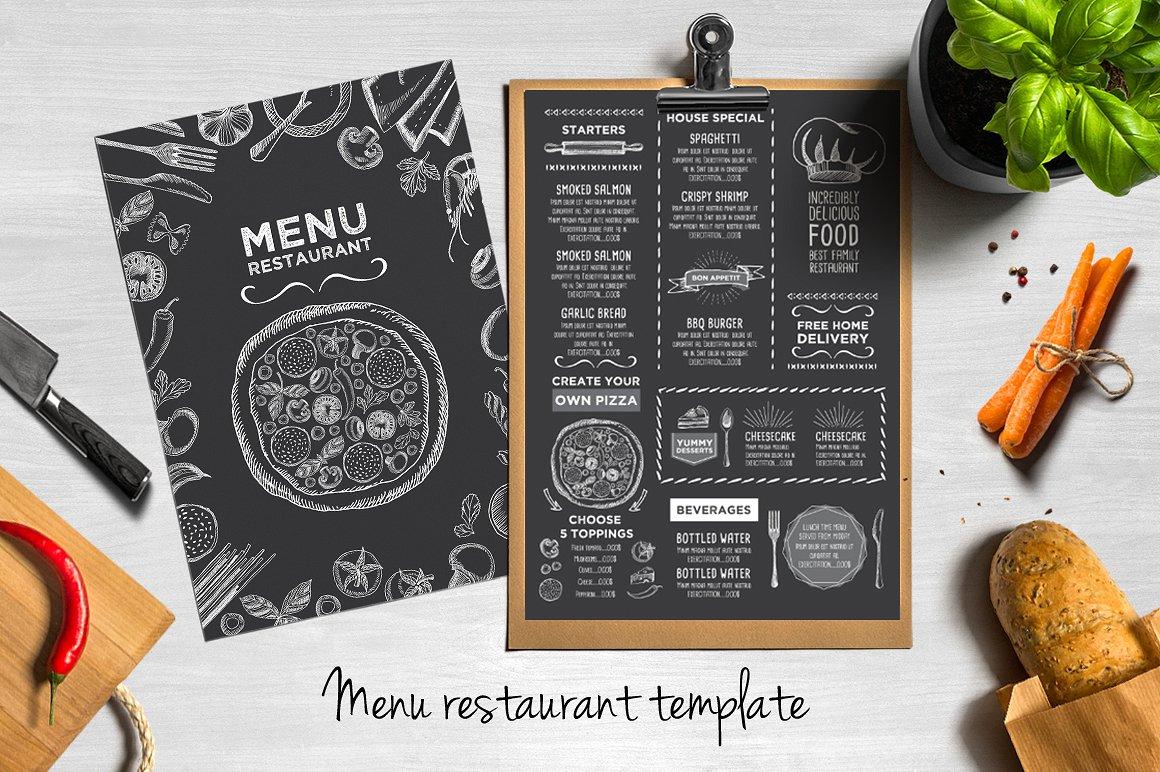 Pizza menu examples editable psd indesign format