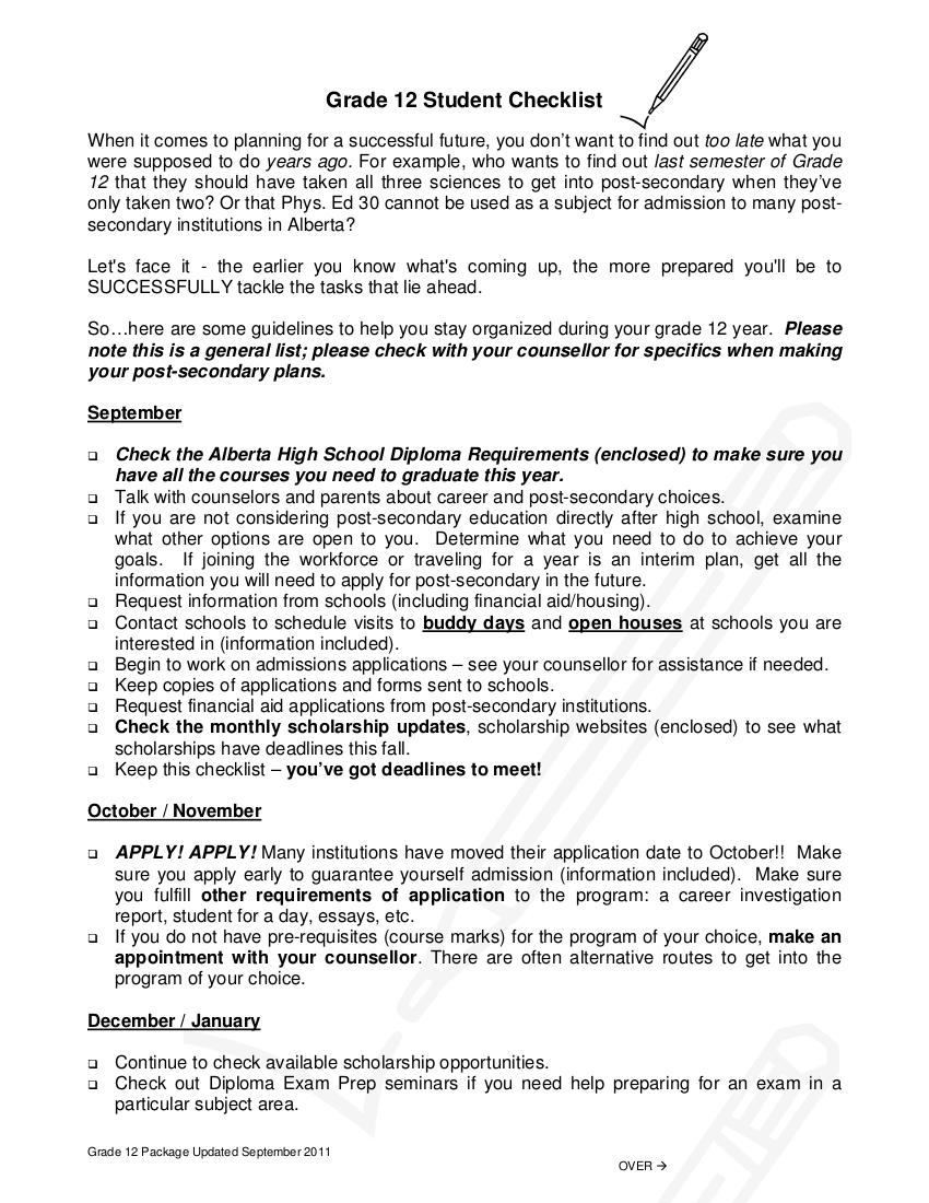 14 grade 12 student checklist