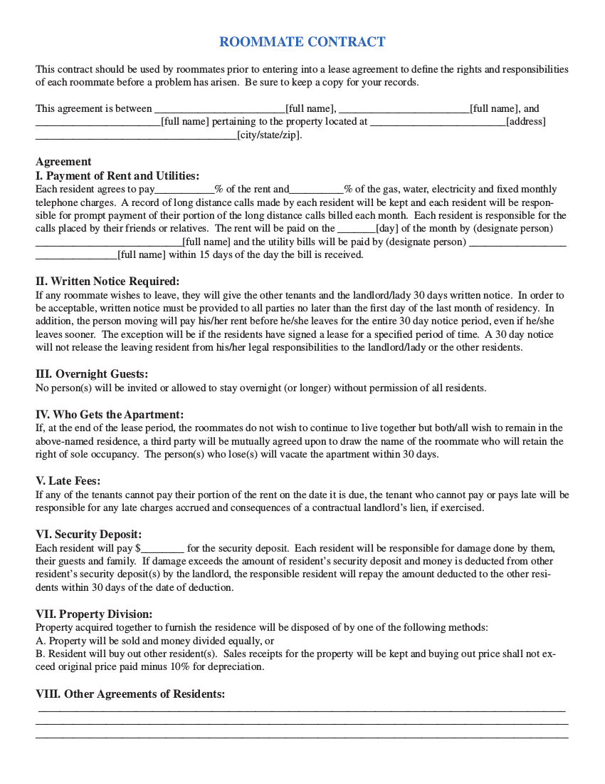 15 roommate contract