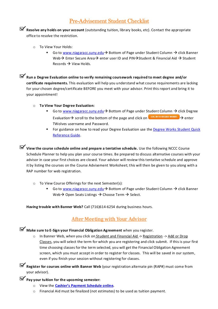 18 pre advisement student checklist