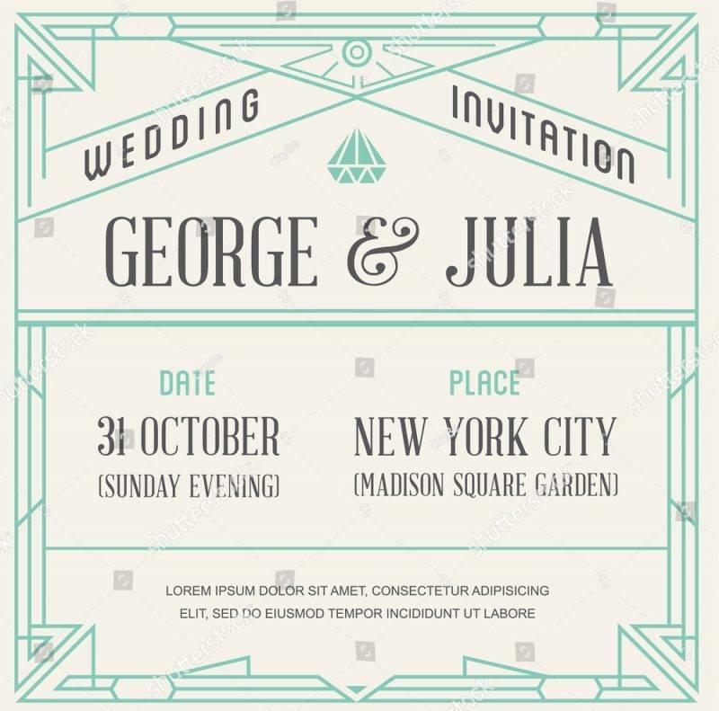 1920s art deco vintage wedding invitation1