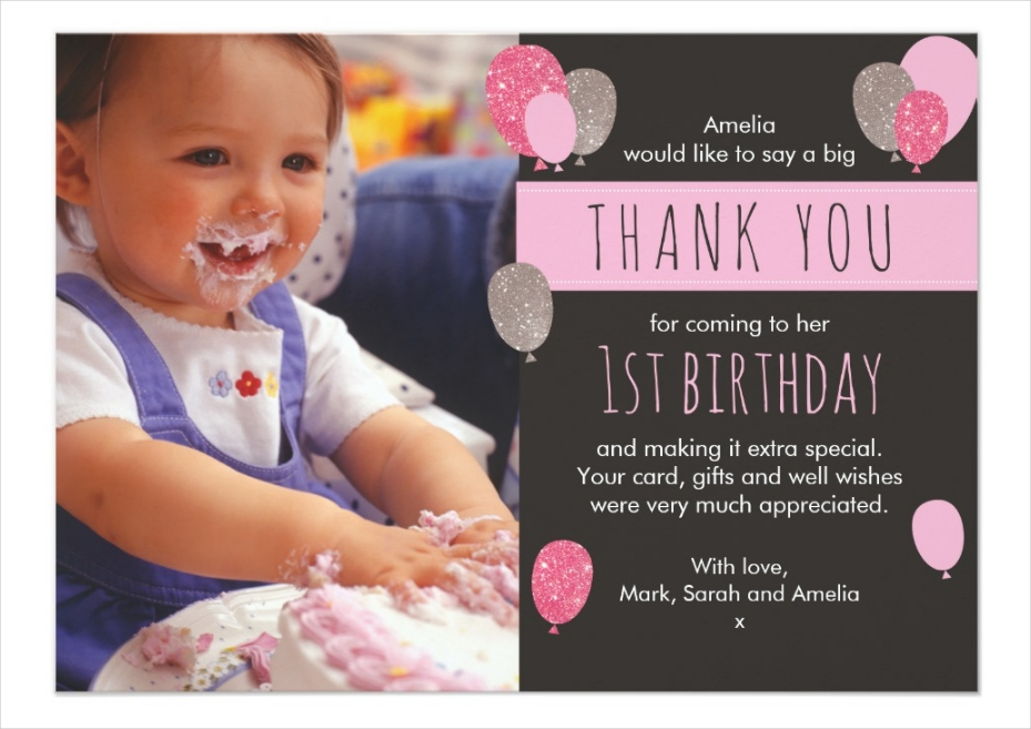 1st birthday photo thank you card